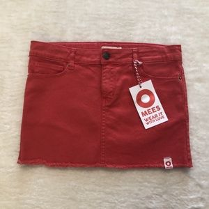 NWT Girls Coral Denim Adjustable Waist Skirt